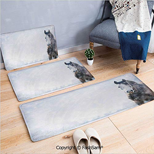 (FashSam 3 Piece Non Slip Flannel Door Mat Gray Horse on Winter Landscape with Snowfall in Wilderness Royal Animal in Nature Indoor Carpet for Bath Kitchen(W15.7xL23.6 by W19.6xL31.5 by W35.4xL62.9))
