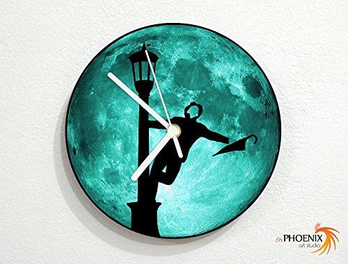 Signing in The Rain - Classic Musical - Teal Full Moon - Universe Stars Space Galaxy Solar Planet - Custom Name Wall Clock by inPhoenix