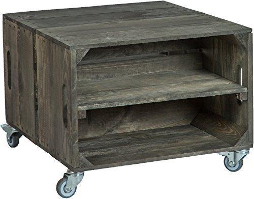 2er mesa en cajas de fruta Rey Con Ruedas masa 56x 49x 38cm mesa baja cuadro sofa mesa caja de vino caja de madera estante caja de fruta altisch de lluvia mesa de salon