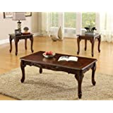 Furniture of America 3-Piece Chesapeake Table Set, Cherry Finish
