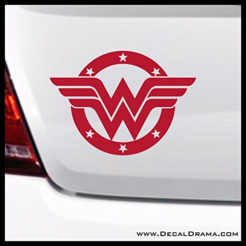 Wonder Woman Stars Badge SMALL Vinyl Decal | DC Comics Justice League Batman Superman Wonder Woman Aquaman Flash Cyborg Green Lantern Martian Manhunter | Cars Trucks Vans Laptops Cup Mug | Made in USA ()