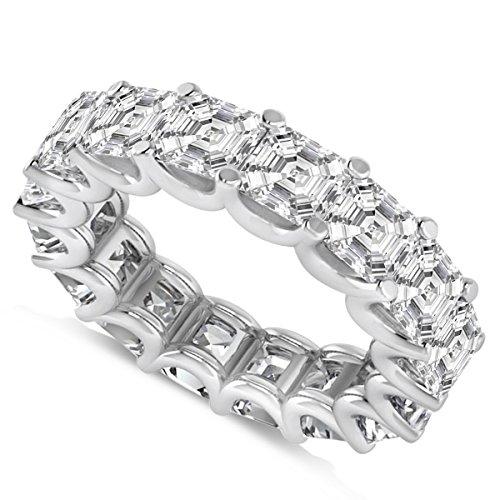 Allurez Asscher-Cut Diamond Eternity Wedding Band Ring in 14k White Gold (9.00ct)