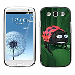 LECELL -- Funda protectora / Cubierta / Piel For Samsung Galaxy S3 I9300 -- Funny Ladybug On Leaf --
