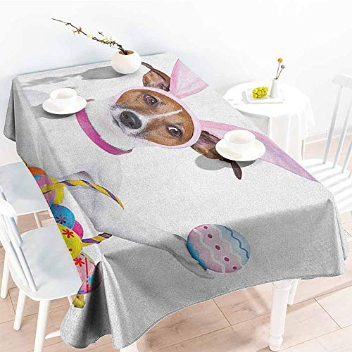 familytaste Easter,Christmas Tablecloth Dog Dressed up as Easter Bunny Holding a Basket of Eggs Funny Animal Illustration 70