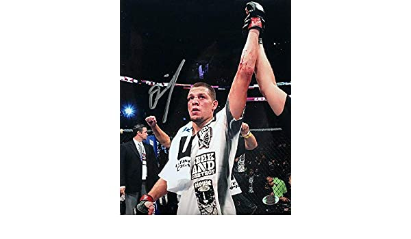 Nate Diaz Signed UFC MMA 8x10 Arm Raised In Victory Photo SI