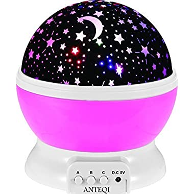New Generation Sun And Star lighting Lamp 4 LED beads 360 Degree Romantic Room Rotating Cosmos Star Projector Starry Star Moon Sky Night Projector Lamp Kids Bedroom Lamp for Christmas (Pink)