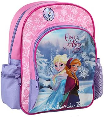"Licensed Disney Frozen Anna /& Elsa Girls 16/"" Canvas Pink School Backpack"