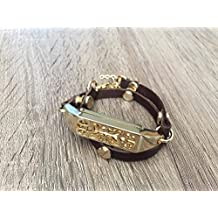 Handmade Double Wrap Dark Brown Leather Bracelet For Fitbit Flex 2 Tracker Adjustable Strap With Gold Metal Jewelry Housing Fitbit Flex 2 Replacement Band With Gold Rivets