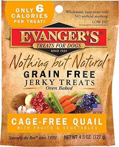 - Evanger's Nothing But Natural Quail Jerky Treats for Dogs, 4.5 oz