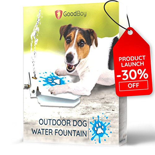 - GoodBoy Water Fountain for Dogs – Interactive Paw Pedal Design Stimulates Pets and Keeps Them Cool – New Durable Leak-proof Dispenser – Keeps Furry Friends Healthy Happy and Hydrated!