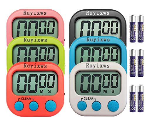 - Ruyixws 6 Pack Digital Kitchen Timer with Large LCD Display, Loud Alarm, Magnetic Back with Stand, Timer for Kids Cooking Baking Sports Office, On/Off Switch, Battery Included (6 Colors)
