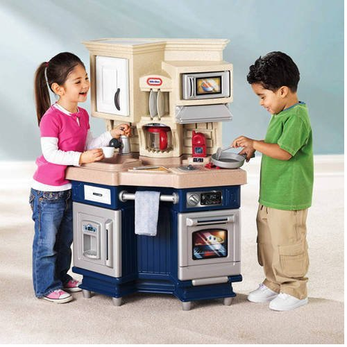 Kids Pretend Kitchen Play Set Toddler Cooking Toy Refrigerator Stove Cookware by Toy Gift