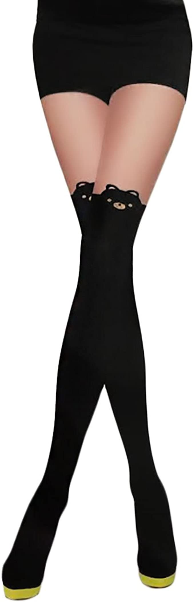 Calze collant donna Orso Orsetto Bear nero fashion Kawaii nuove party P48