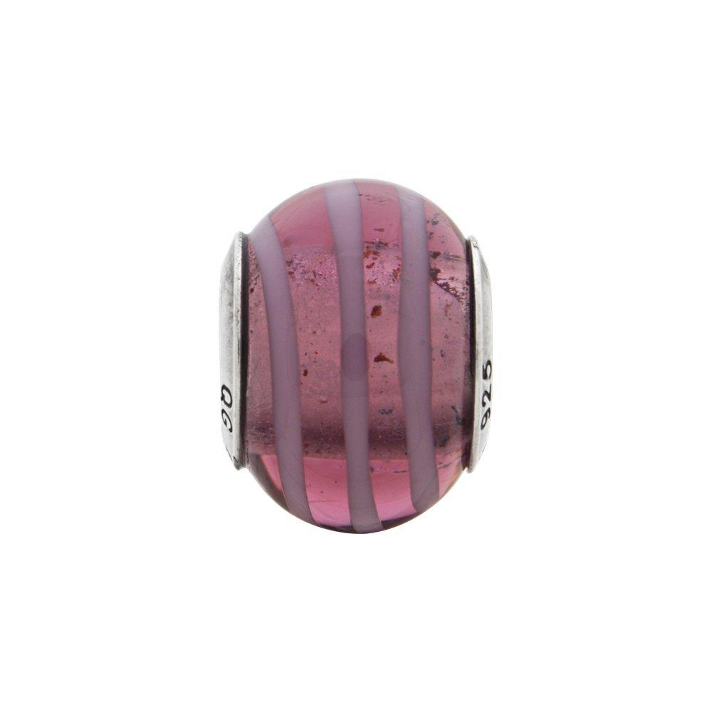 10.9mm x 15.5mm Jewel Tie 925 Sterling Silver Reflections Purple//Pink Italian Murano Bead