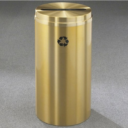 Glaro RecyclePro Satin Brass Cover Paper Recycling Receptacle, 33 Gal, 20 inch Dia x 35 inch H All Satin Brass