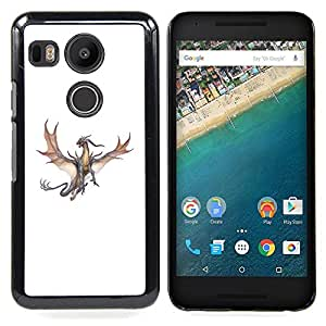 - Dragon Brown Grey Flying Fierce Cartoon - - Snap-On Rugged Hard Cover Case Funny HouseFOR LG Google Nexus 5X