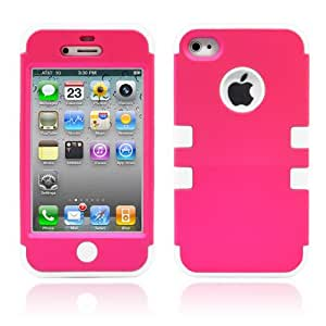 iPhone 4S Case, MagicMobile Protective Hybrid Impact Shockproof Port Cover for iPhone 4S Hard Armor Shell and Soft Silicone Skin Layer [ Hot Pink- White ] with screen protector and stylus