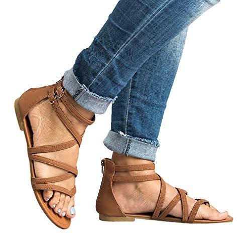 Chaussures Marron Croix Printemps été Plage Ouvert Sandales String éclair Sandales Boucle Toe Femme 42 Peep Taille Sandales 36 Sandals Fermeture Sangle Bout n1aSqYS6vc