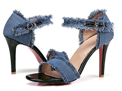 Sandales Bout Mode Ouvert Femme Aisun Jean Bleu f8HxBn6q