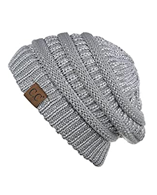 Trendy Warm Chunky Soft Stretch Cable Knit Beanie Skully ,Silver,One Size