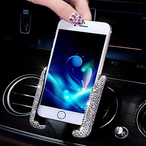 Bling Crystal Car Phone Holder Mount,Universal 360/°Adjustable Auto Phone car Holder for Dashboard,Air Vent and Windshield,Bing car assecories for Women(Silver)