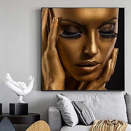 N / A Pintura sin Marco Pintura al óleo Maquillaje Modelo Femenino impresión de póster Pintura al óleo Fresca Sala de Estar decoración del Dormitorio Pintura ZGQ6135 60X60cm