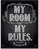 My Room My Rules - 11x14 Unframed Typography Art Print - Great Bedroom Decor Under $15