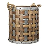 American Art Decor Rustic Bamboo and Metal Storage Basket Vintage Country Farmhouse Decor (Large)