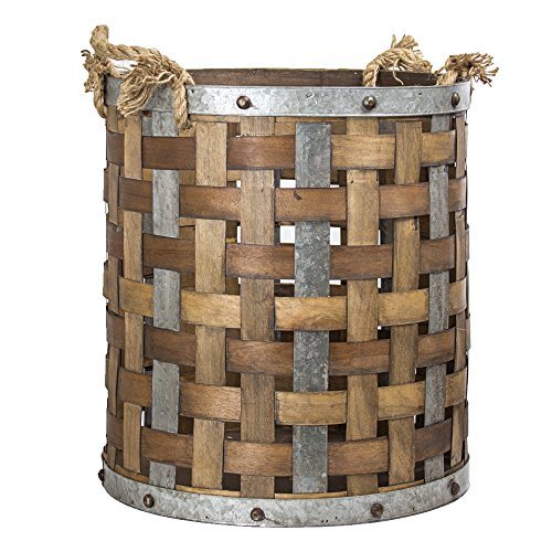 - American Art Decor Rustic Bamboo and Metal Storage Basket Vintage Country Farmhouse Decor (Large)