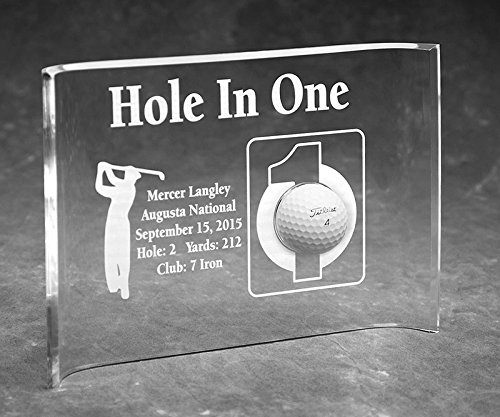 Hole-In-One Golfer Laser Etched 7x10 Acrylic Crescent - Golf Etched Awards