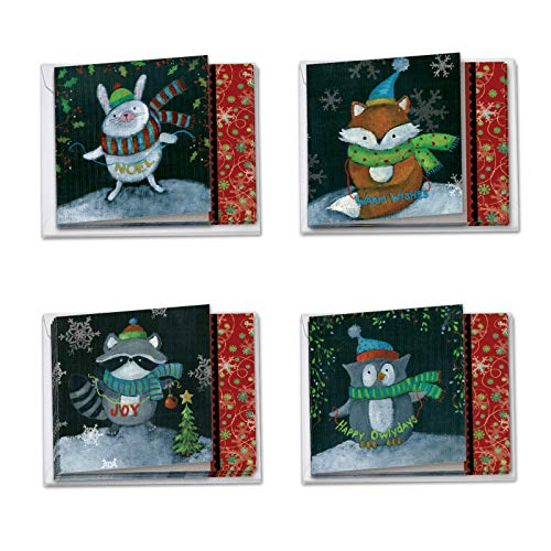 Box of 12 Woodland Christmas Holiday Notecards w/ Envelopes4 x 5.12 inch - Featuring Adorable Images of Painted Wild Animals in the Xmas Spirit - Boxed and Assorted Cards for Everyone MQ4632XSG-B3x4