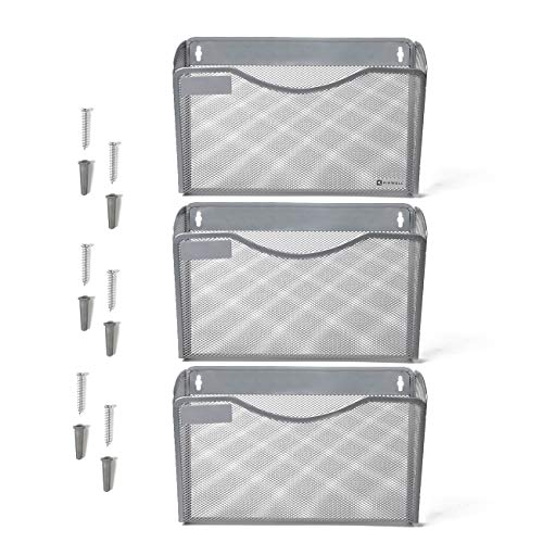Kinwell 3 Pack Office Hanging Mesh Letter-Size Wall File Holder Organizer Single Vertical Collection Pocket Set Multi-Purpose Organizer Display Magazines Mail Sorter & Magazine Rack (Silver) ()