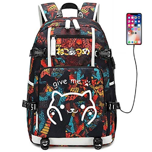 Anime Hat Cat - YOYOSHome Luminous Japanese Anime Cosplay Bookbag Daypack Laptop Bag Backpack School Bag with USB Charging Port