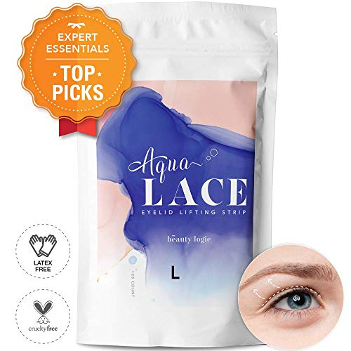 Beauty Logic Original Ultra Invisible Aqua Lace Eyelid Lifting Kit-SELF ADHESIVE, LATEX FREE, Instant Eyelid Lifting Tape perfect for hooded, droopy, uneven or mono-eyelids, NO GLARE GUARANTEED-Large