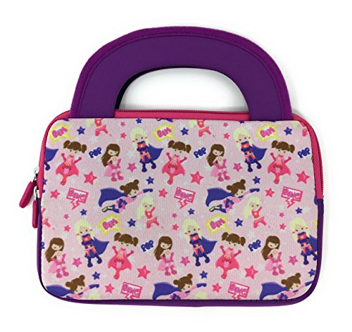 iPad Mini Slim Tablet Case Kids - Universal Neoprene Carrying Bag Tote Dual Handles Boy Girl - Zipper Sleeve will fit most 6 7 8 Inch devices Water Scratch Dust Proof (Super Hero Princess)