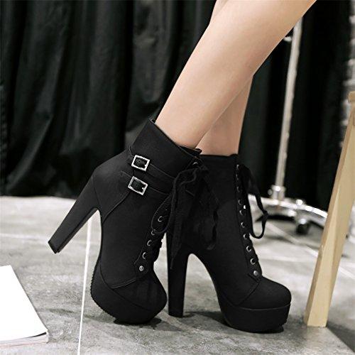 Hauts Cheville Lace Up Xianshu Talons Boucle Chaussures Bottes Forme Plate wIWCqf4
