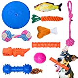 WB WEIRDBEAST Dog Toy Set Dog Rope Gift Rubber Balls Ropes Chew Squeaky Cotton Plush Pet Dog Teething Training Play Toys Flying Discs for Small Medium Dogs - Keep Pets Happy and Healthy(10 pack)