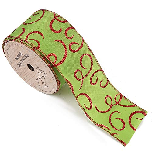 Wired Edge Craft Ribbon 2-1/2-Inch Wide by 10 Yard Spool (556 Spiral Red Green)