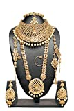 Indian Amazing Style Golden Plated Crystal StonePolki Necklace Earrings Bridal Set Jewelry