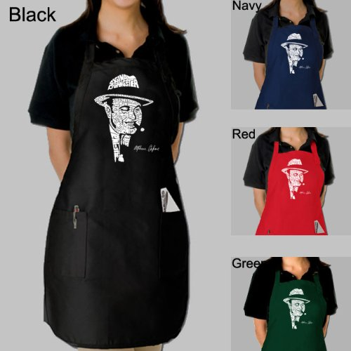 Full Length Green Dual Pocket Apron - Al Capone's face created out of the words