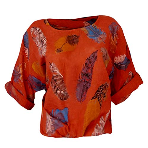 POQOQ Blouse Women Plus Size Feather Print Three Quarter Sleeve O-Neck Pullover Shirt(Red,XXL) ()