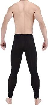 LinvMe Mens Ice Silk See Through Long Pants Slim Leggings Tights