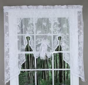 abbey rose floral lace curtain white swag valance home kitchen. Black Bedroom Furniture Sets. Home Design Ideas