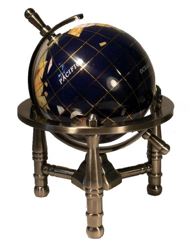 Unique Art 6-Inch by Blue Lapis Ocean Mini Table Top Gemstone World Globe with Silver Tripod (World Globe With Gems compare prices)