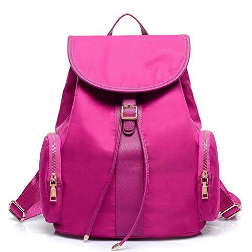 Bolso De De Estudiante De De Mochila Bolso F Cosméticos Paquete Color Rosas Multifunción amp; Zy Hombro Bolsa Nylon Casual Rojo Bolso rrq6wxa