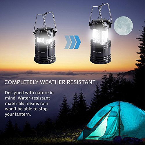 LED Camping Lantern, Survival Kit for Hurricane, Emergency, Storm, Outages, Outdoor Portable Lantern, Black, Collapsible (2 Pack) Vont
