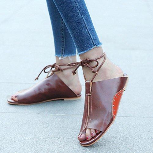 Schuh Offene Bequeme Braun Schuhe Hausschuhe Frauen Sandaletten Elegante Elecenty Flops Sommer Flip Strandschuhe Flache Freizeitschuhe Bandagen Sommerschuhe Shoes Sandalen Damen Damenschuhe nRTxZYp