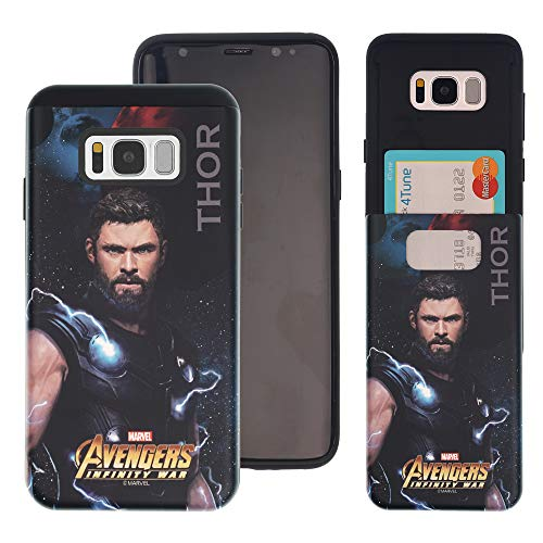 (Galaxy S10 Plus Case Marvel Avengers Infinity War Slim Slider Cover : Card Slot Shock Absorption Dual Layer Holder Bumper for [ Samsung Galaxy S10 Plus (6.4inch) ] Case - Thor)