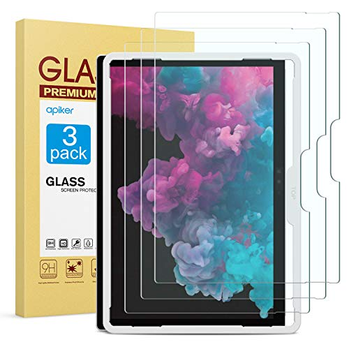 [3 Pack] Screen Protector for Surface Pro 6 / Surface Pro (5th Gen) / Surface Pro 4, apiker Tempered Glass Screen Protector with [Alignment Frame] [High Definition]