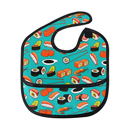(Sushi Lover Gift Baby Bibs Waterproof,Washable,Baby Teething Bib 6-24 Months )